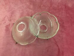 Vintage Pair of 4quot; Cut Crystal Chandelier Bobeches for Restoration w 4 Hooks $15.00