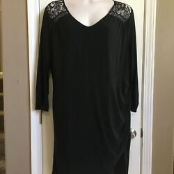 Maurice's Black Lace Fancy Party Cocktail Plus Size Dress 3X Long Sleeves EUC $24.99