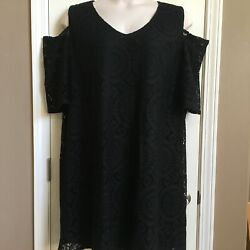 Tacera Black Lace Fancy Party Cocktail Plus Size Dress 3X Peekaboo Sleeves EUC $21.99