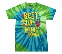 Nickelodeon Spongebob Squarepants Best Day Ever Vintage Retro Tie Dye T Shirt $16.49