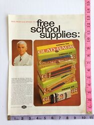 Vintage Magazine Clipping Ad Glad Bags 1966 Man from Glad 60#x27;s $6.50