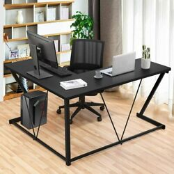 L Shaped Home Office Desk Study Computer Gaming Laptop Table Workstation Black $109.24