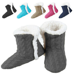 Yelete Women#x27;s Cable Knit Slippers House Booties Soft Sherpa Lining Rubber Soles $14.99