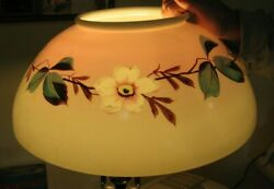 Antique Light Fixture Parlor Glass Lamp Shade #227 Pink Border Multi colored g $89.50