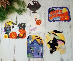 Vintage Halloween Wall Decorations Fuzzy Cats Ghost Witch Skeletons Bat Haunted $15.99