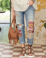 179. Levi's For Anthropologie Patchwork Boho Distressed Jeans 26 2 Euc $49.00