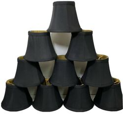 Set Of 10 Black Mini Chandelier Clip Shades Bell Shaped Lined 4quot; $42.49