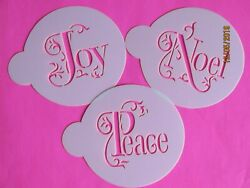 Christmas Holiday Cupcake Cookie Stencil Top 3 Piece Airbrush Decorating Tool $9.99