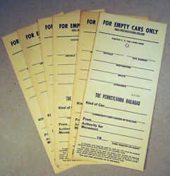 Pennsylvania Railroad PRR For Empty Cars Only Form CT 212 Yard Master Tank Refer $10.00