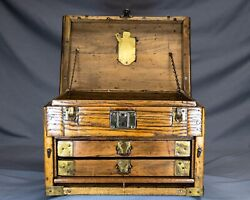 Antique Vintage Hand built Wood and Brass Machinist Tool Box with Drawers $275.00