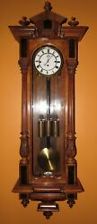 ANTIQUE BIEDERMEIER GRAND SONNERIE THREE WEIGHT VIENNA WALL CLOCK $1900.00