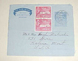 ADEN AIR LETTER 1954 TO USA $4.99