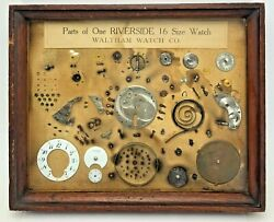 Antique Parts One Riverside 16 Size Pocket Waltham Watch Framed Display Salesman $289.95