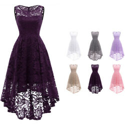 Vintage Women Sleeveless High Low Lace Dress Evening Cocktail Bridesmaid Dresses $25.64