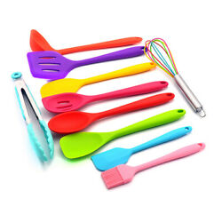 Silicone Cooking Utensil Set Slotted Turner Spatula Spoon Food Tongs Kitchen Kit $19.69
