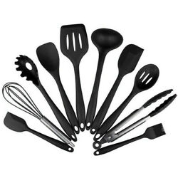 10Pcs Heat Resistant Silicone Cookware Set Non Stick Cooking Tools Kitchen Kit $19.99