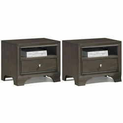 2PCS Vintage Nightstand Solid Wood Sofa Side End Table W USB Port amp; Drawer Grey $169.99
