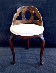 Antique Biedermeier Chair Vanity Boudoir Bedroom Stool $675.00