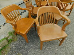 Buy 1 4 Antique 1930s Sikes Quartersawn Oak Office Jury Banker Windsor Arm Chair $399.00