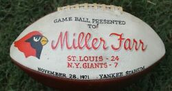 NFL Game Presentation Ball Miller Far St Louis Cardinals NY Giants 1971 Yankee S $250.00