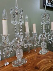 PAIR of Crystal Electric lighted Mantle or Table Lamps Candelabra 22quot; Czech $420.00