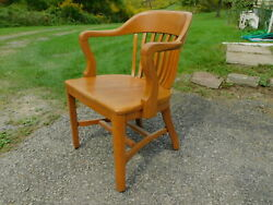 Antique Office 1920s SIKES NY Quartersawn Oak Jury Banker Desk Windsor Arm Chair $245.00