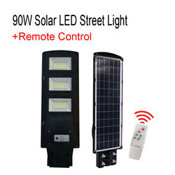 90W 180 LED Commercial Solar Street Light Outdoor IP65 Dusk to Dawn Road Lamp