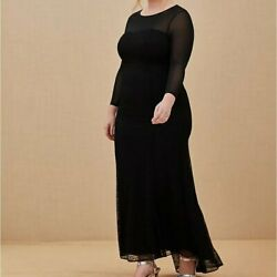 Torrid 22 Dress Evening Gown Black Mesh Lace Mermaid Train Holiday Party Plus 3X $134.95