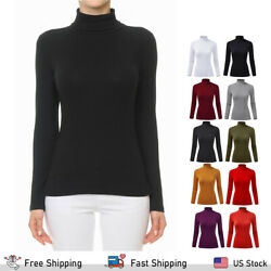 FashionMille Women#x27;s Ribbed Tultleneck Long Sleeve Pullover Sweater $12.95