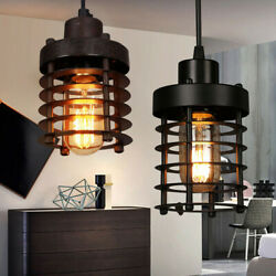 Rustic Vintage Industrial Iron Cage Pendant Light Hanging Ceiling Lamp Fixtures $28.99
