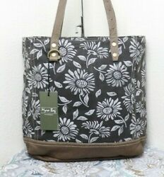 🆕Myra Bag SUNFLOWER Large Canvas Purse Tote Bag Leather Accents $47.95
