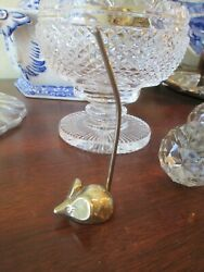 Vintage Brass Mouse Collectible Ring Holder Paper Receipt Desk $9.99