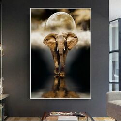 Elephant Wall Paintings Print On Canvas Art Prints Animals Black And WhiteAnimal $12.99