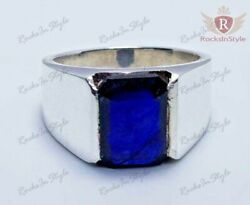 6 Ct Natural Royal Blue Sapphire 925 Sterling Silver Custom Cocktail Men#x27;s Ring $225.00