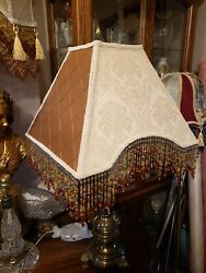 Victorian French Large Floor Table Lamp Shade quot;Cream and Goldquot; Bead Fringe $159.00