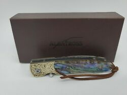 ALBATROSS Mini Pocket Knife Abalone Seashell 4.75#x27;#x27; Damascus Steel Folding Knife $29.00