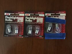 """Vintage Lot 3 2 PK Ace 31901 Flashlight Bulbs Use In 2 """"D"""" Cell Battery $14.95"""