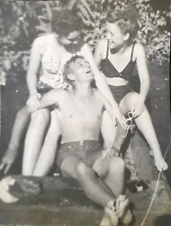 Vintage 1945 Photo Lot 2 Cute Teens Pretty Girls amp; Boy Party At Lake Swimsuits $7.00