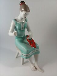 Hollohaza Hungarian Girl Woman Kitchen Red Peppers 9.75quot; Hungary 1834 $45.00