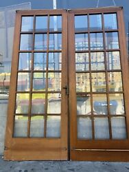 Arts And Crafts Style French Doors 18 Pane Glass 79x30 $975.00