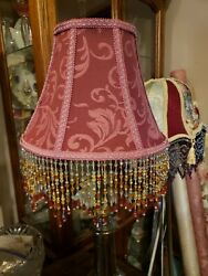Victorian French Medium Lamp Shade Wine and 5quot; Bead Fringe $99.00