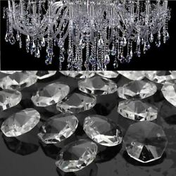 50pcs Clear Glass Crystals Chandelier 14MM Drops Hanging Parts Prisms Lamp $8.92