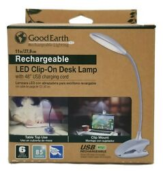 Good Earth Rechargeable Lighting LED Clip On Desk Lamp Silver NEW $14.99