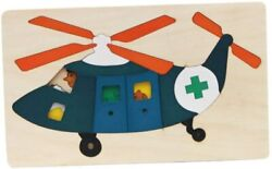Jigsaw Puzzle for Toddlers Kids Colorful Solid Wood 3D Puzzle Helicopter $10.32