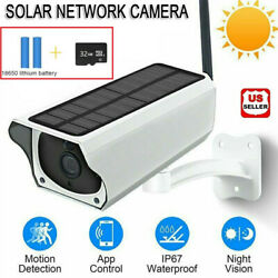 Solar Powered IP Camera 1080p WiFi Ip67 Night Vision Security 32gb Card Wireless $54.98