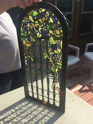 Vintage Handmade Leaded Stained Glass Panel 1#x27; x 2#x27; $250.00