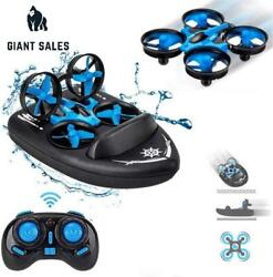 Mini Drone 3 In 1 Rc Boat Beginners Indoor Remote Control Car Small Helicopter P $53.62