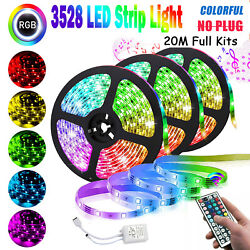 66FT RGB Flexible LED Strip Light 3528 SMD Remote Fairy Lights Room TV Party Bar $18.19