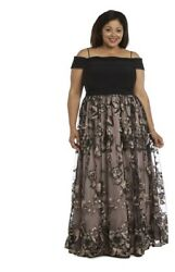 Morgan amp; Co. Off The Shoulder Gown Plus 20W Embroidered Long Black Taupe $60.00