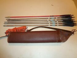 Vintage BEAR Archery leather Shoulder QUIVER with 6 wood Arrows $79.99
